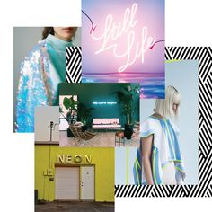 Neon Moodboard by Lindsey Eryn of Third Story Apartment. _ Neon, Neon inspiration, neon mood board, mood board inspiration, neon signs, brand boards, mood board inspiration, neon color scheme, neon yellow, design inspiration, graphic design inspiration, color inspiration