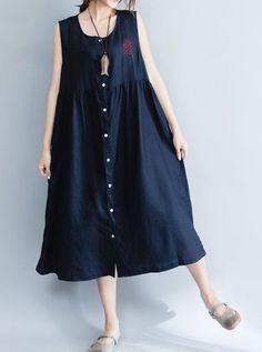 Women loose fit over plus size blue dress linen long pocket tunic skirt button #Unbranded #dress #Casual
