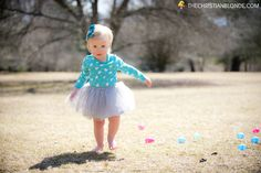 Easter Egg Hunt. Plastic Eggs, Chevron Basket, Monogram, Monogrammed, Personalized, Teal, Aqua, Blue, Turquoise, Bunny Onesie, Outfit, Grey, Gray, Tulle, Tutu, Barefoot, Blonde, Bow, Rhinestone, Easter Photo Shoot, Photoshoot, Photo Props, Photo Ideas, Theme Photography, Toddler, Baby, Girl, Running