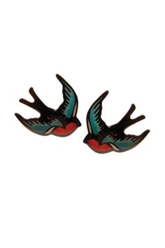 Tatty Devine Red Swallow Earrings - Need something to tweet about? Try these little beauties! Another super cute, easy to wear offering from Tatty Devine, these vintage style swallow earrings are just the ticket for sharpening up anything from your office outfit to your beachside bikini. The bright colours on these accessories mean that they are all you need for freshening up your look this season.