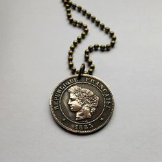 1883 France 5 centimes coin pendant charm necklace jewelry Marianne French Republic Lady Liberty female Goddess ribboned wreath No.000027 by acnyCOINJEWELRY on Etsy