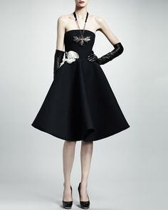 Strapless Rose Applique Gabardine Dress, Black by Lanvin at Bergdorf Goodman. This is the most perfect piece of clothing I have ever seen.