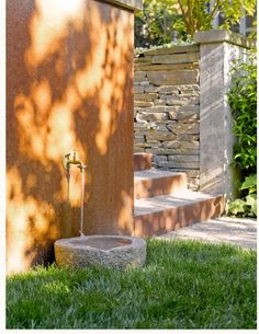Outdoor dog fountain. Easy concrete bowl (great look for the Echo Bark dog run)