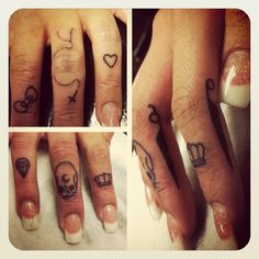 several knuckle tattoo ideas..way too many for one hand though! whew an ink overload in my opinion..