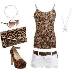 leopard tank/white shorts