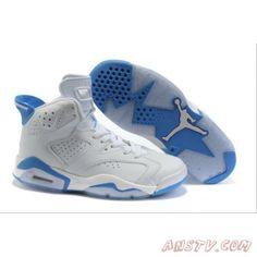 timeless design 69f69 c1a09 Nike Air Jordan Retro 6 vi bleu ciel  blanc Femmes Livraison Gratuite Air  Jordan Femme