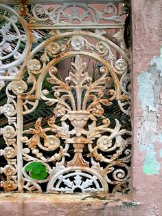 Gate to be used as decorative wall panel Old Gates, Iron Gates, Garden Gates And Fencing, Wrought Iron Fences, Decorative Wall Panels, Iron Art, Old Doors, Architectural Salvage, Architecture