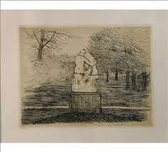 Hugo Simberg, In Luxembourg Park, Made of etching and drypoint