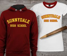 """Sunnydale High School SVG File Cutting Template INSTANT DOWNLOAD from Designed by Geeks. Use vinyl & other materials for Silhouette, Cricut, ScanNCut. No desktop plotter cutting machine? Use printer transfer paper! Instructions included. Your high school on a Hellmouth? Studying make you want to slay something? Just long to be part of the Scooby Gang? If you answered yes to any of these, then this is the design for you! Inspired by Buffy, set has 3 versions of the phrase """"Sunnydale High…"""