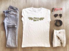 Summer Outfit with Miss Biker Tee #missbiker #denim #vintage #converse