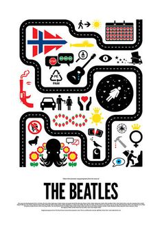 POP PICTOGRAM POSTERS Pop music lyrics don't always make sense on paper. Graphic designer Viktor Hertz thinks they translate better in graphic form. Can you find the Beatles' magical mystery tour bus?