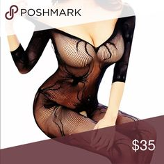 Fishnet bodysuit stockings spider black lingerie Sexy crotchless bodysuits stockings Pinup vixen bombshell lingerie dance club goth punk party club festival parade edc concert music video oh lollipop Accessories Hosiery & Socks