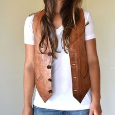 Perfect simple style/shape. /was Vintage Brown Rustic Cowboy Genuine Leather vest