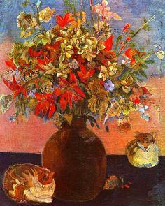 Il gatto nella storia dell'arte (Fiori e gatti, Paul Gauguin)