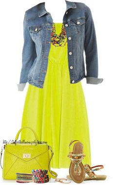 already have denim jacket and accessories- i love this pop out minty green yellow.