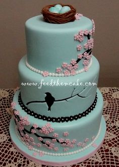 "Cherry Blossom Bird Cake~ The artist of this cake says, ""This was my entry for Denver's ICES show, ""Sweet Times in the Rockies"". I won 1st place for Adult Intermediate, Tiered Cakes."