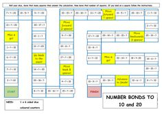 Game for 2 or more players to practise recall of number bonds. Need: 6 sided dice, coloured counters. Number Bond Games, Number Bonds To 20, Math Tutor, Teaching Math, Teaching Resources, Teaching Ideas, Math Board Games, Math Boards, Early Years Maths