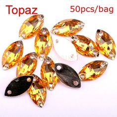 50pcs 6*12mm Marquise Multi-colored Silver Base Sew On Rhinestone Beads Sewing On Horse Eye Crystal Stones Sew-On Two Holes