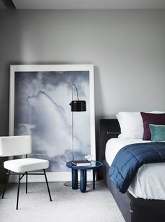 Serene bedroom with cool dove grays and pure whites
