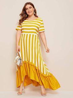 Simple Dresses, Plus Size Dresses, Dresses For Sale, Plus Size Outfits, Casual Dresses, Neon Yellow Dresses, Corduroy Pinafore Dress, Curvy Dress, Overall Dress
