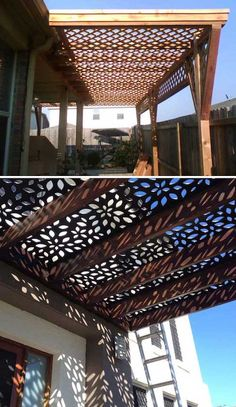 Roof screen on pergola with a fascinating lattice shade. Roof screen on pergola with a fascina Diy Pergola, Outdoor Pergola, Wooden Pergola, Pergola Shade, Outdoor Spaces, Pergola Canopy, Cheap Pergola, Rustic Pergola, Pergola Carport