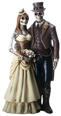 Wedding Cakes Love Never Dies Steampunk Skeleton Wedding Cake Topper - This bold, dramatic gothic skeleton steampunk cake topper will make a striking statement on your wedding cake. Perfect for any fantasy or gothic themed wedding! Wedding Cake Decorations, Cool Wedding Cakes, Wedding Decor, Gift Wedding, Party Wedding, Wedding Reception, Steampunk Wedding Cake, Skull Wedding, Floral Wedding