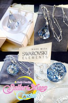 Swarovski Sailor Moon Silver Crystal Necklace Millennium Sterling Silver 925…