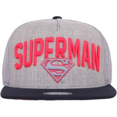 ililily SUPERMAN Rubber Logo Mesh Back New Era Style Snapback Hat... (23  CAD) ❤ liked on Polyvore featuring accessories dd3ce14b7d3c