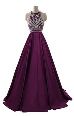 Sparkly Prom Dress, womens two pieces beaded evening gowns satin sequined prom dresses long prom dress 2018 Ball Gown Prom Pretty Prom Dresses, Elegant Prom Dresses, Prom Dresses 2018, Formal Evening Dresses, Ball Dresses, Ball Gowns, Formal Prom, Dress Formal, Bridesmaid Dresses