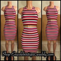 Striped Crop Top Set Orange, black, pink and white striped crop top set with high waisted skirt. BRAND NEW!!!! Other