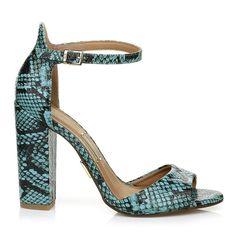 Sandália Salto Alto Piton Turquesa -  UZA Shoes