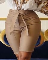 Solid High Waist Coated PU Shorts Women's Online Shopping Offering Huge Discounts on Dresses, Lingerie , Jumpsuits , Swimwear, Tops and More. Estilo Fashion, Ideias Fashion, Fashion Pants, Fashion Outfits, Women's Fashion, Latest Fashion, How To Hem Pants, Pants For Women, Clothes For Women