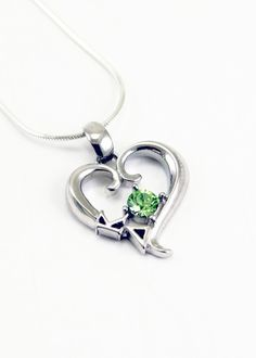 Kappa Delta Sterling Silver Heart Pendant with Swarovski™ Green Crystal: Fraternity and Sorority Jewelry