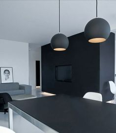 Striking penthouse in Copenhagen by NORM Architects with the basic palette of black white and gray. Wall Lights, Ceiling Lights, Tiny House Design, Small Spaces, Minimalism, Sweet Home, Living Room, Lighting, Architecture