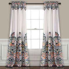 Clara Navy Curtain Panel Set, 84 in.