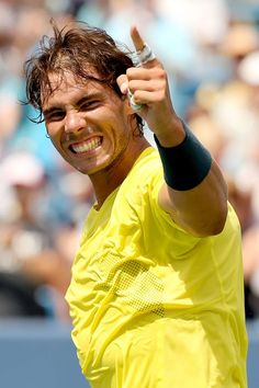 CINCINNATI, OH - AUGUST Rafael Nadal of Spain celebrates his win over John Isner during the final of the Western & Southern Open on August 2013 at Lindner Family Tennis Center in Cincinnati, Ohio. (Photo by Matthew Stockman/Getty Images) Tennis Rules, Sport Tennis, Play Tennis, Rafael Nadal, Nadal Tennis, Tennis Pictures, Portrait Photography Men, Andy Murray, Sport Icon