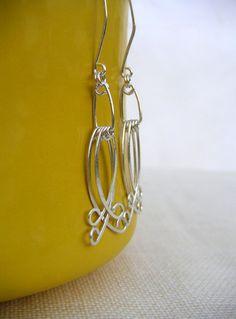 Long Silver Wire Earring Hammered Wire Jewelry by BellantiJewelry