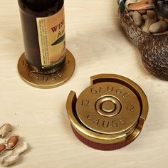 All tabletops need protection. Our shotgun shell coasters are sure to protect your coffee table at all times from watermarks and any harm that comes its way. Featuring a set of four coasters hand painted to resemble the ends of 12 gauge shotgun shells, ou Cute Gifts, Diy Gifts, Great Gifts, Unique Gifts, Awesome Gifts, Simple Gifts, Funny Gifts, Just In Case, Just For You