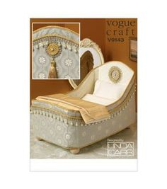 Vogue Pattern V9143-OSZ14 Dolls' Bed and Bedding-One Size Only