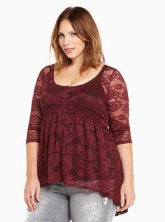 Lace Button Front Babydoll Top | Torrid