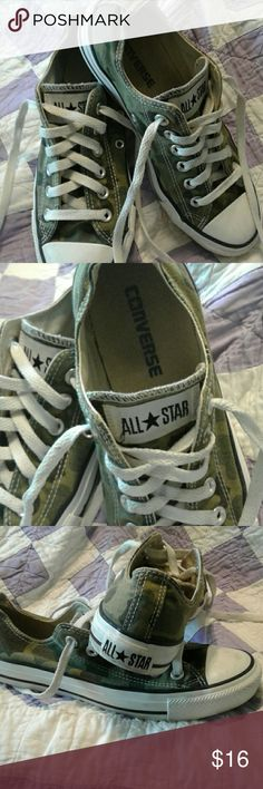 Converse camo sneakers Great pair of camo Converse tennis shoes. And used but good condition. Converse Shoes Sneakers