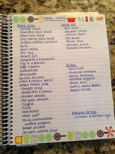 Meal idea cheat sheet- make meal planning easier