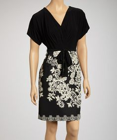 $21.99! Take a look at this Black & Cream Flourish Surplice Dress by AA Studio on #zulily today!