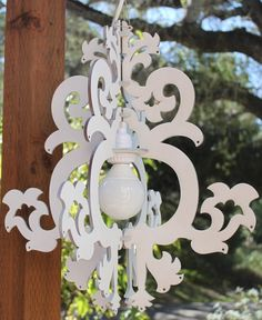 White Painted with Light kit - Lighted Michelle Chandelier. $72.00, via Etsy.