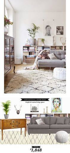 A white and romantic living room with lots of texture recreated by @lindseyboyer for $1848
