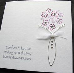 hand made anniversary cards   Handmade Wedding Anniversary Card Husband Wife Couple   eBay