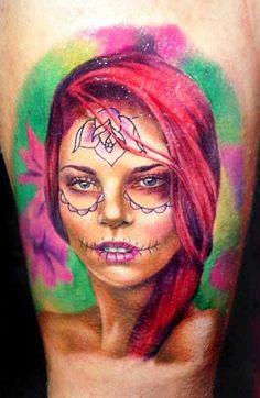 Realism Muerte Tattoo by Line Marielle Kloosterman - http://worldtattoosgallery.com/realism-muerte-tattoo-by-line-marielle-kloosterman-2/