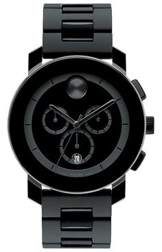 Embrace a new attitude with this daringly dark watch from Movado's Bold collection. | Black polymer bracelet | Round black TR90 and stainless steel case, 44mm | Black chronograph Museum® dial with bla