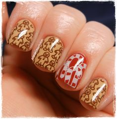 Gingerbread men with candy cane accent nail