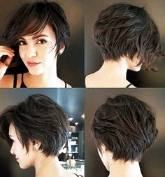 Pixie-Bob-Cut Latest Short Haircuts For - Hair Beauty Latest Short Haircuts, Cute Short Haircuts, Haircut Short, Bob Haircuts, Hairstyles Haircuts, Pixie Bob Haircut, Short Thick Wavy Haircuts, Pixie Haircut For Thick Hair, School Hairstyles